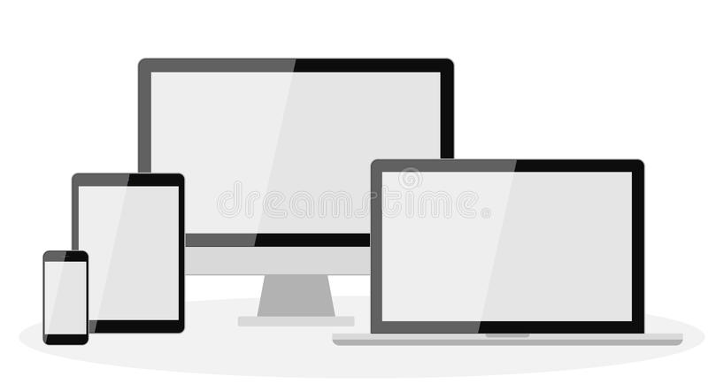 Different types of screens. Screens. Computer and laptop, tablet and smartphone screens stock illustration