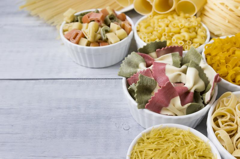 Different of types and shapes of dry Italian  of pasta.  stock photography