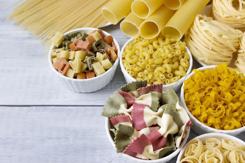 Different of types and shapes of dry Italian  of pasta.  stock photos