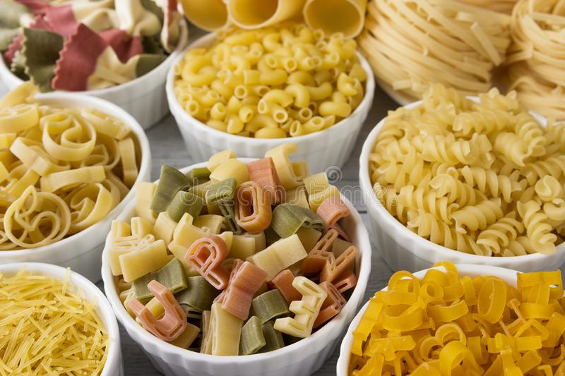 Different of types and shapes of dry Italian  of pasta.  royalty free stock image
