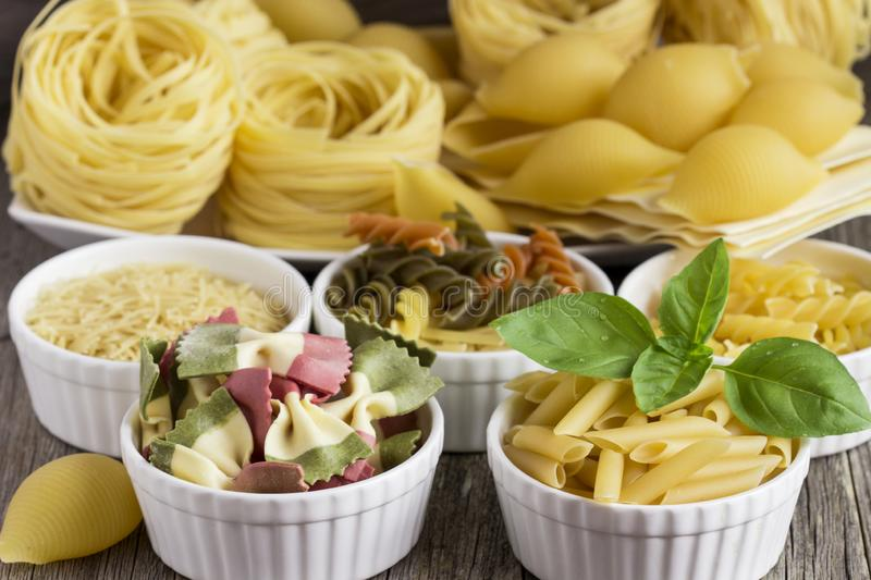 Different of types and shapes of  Italian  of pasta.  stock images