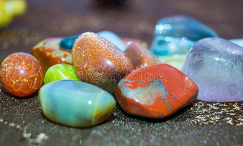 Different types of shiny colored pieces of crystal royalty free stock photo