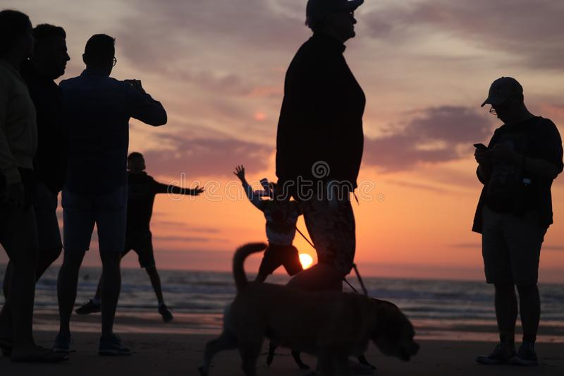 Different types of silouette people at the beach during a beautiful sunset in France montalivet. Dogs, photography, taking, reflection, down, sunrise, clouds stock photography