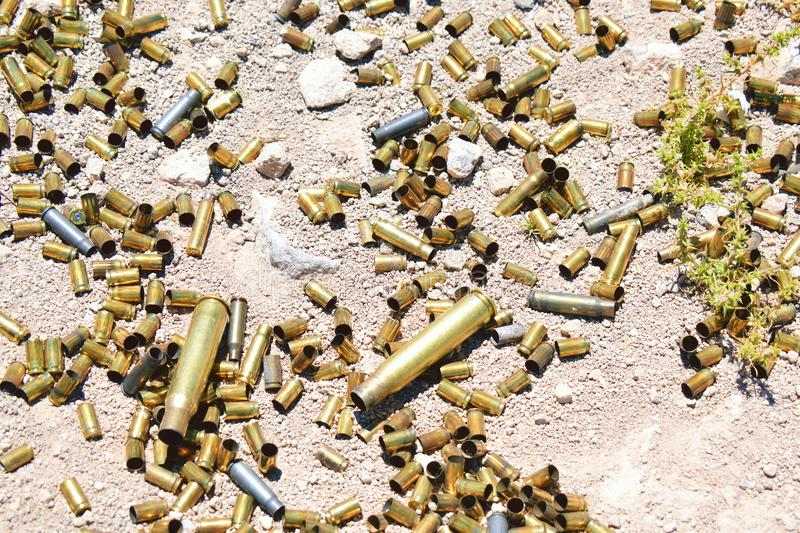 Different type and size of bullets stock photo