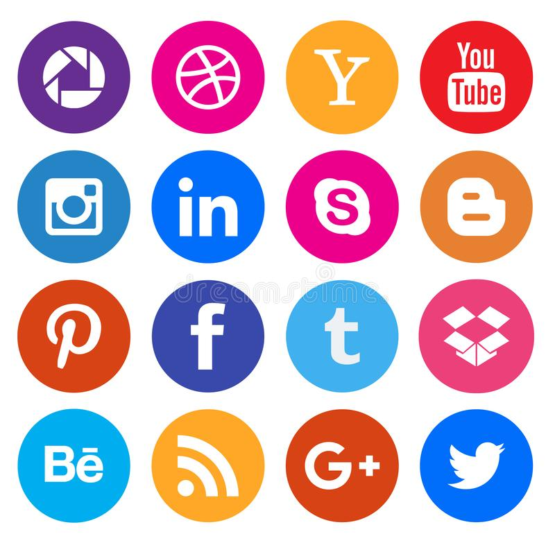 Social media icon collection buttons royalty free illustration