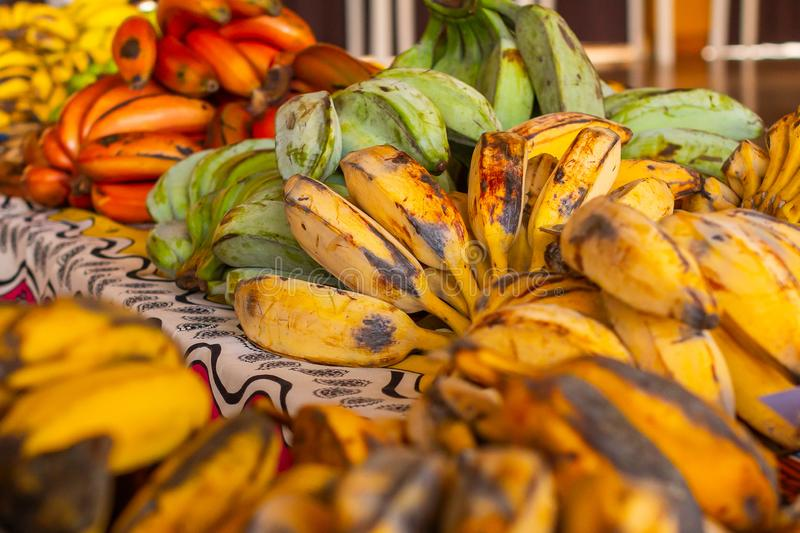 Different types and species of banana. Red, yellow, green bananas in the asian supermarket royalty free stock images