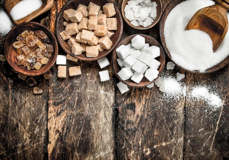 Different types of sugar in bowls. stock photography
