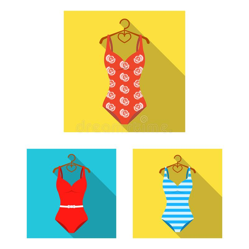Different types of swimsuits flat icons in set collection for design. Swimming accessories vector symbol stock web stock illustration