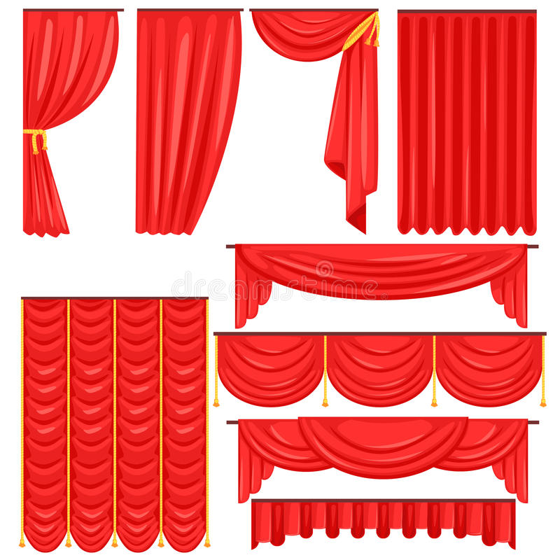 Different Types Of Theatrical Stage Curtain And Drapes In Red Velour Vector Collection. Bright Realistic Side And Main Drapers For Theatre Cartoon Illustration vector illustration
