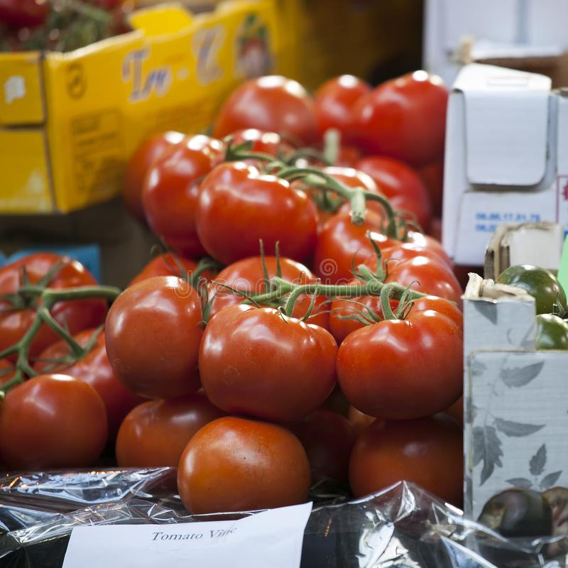 Different types of tomato on the Borough market in London stock photos