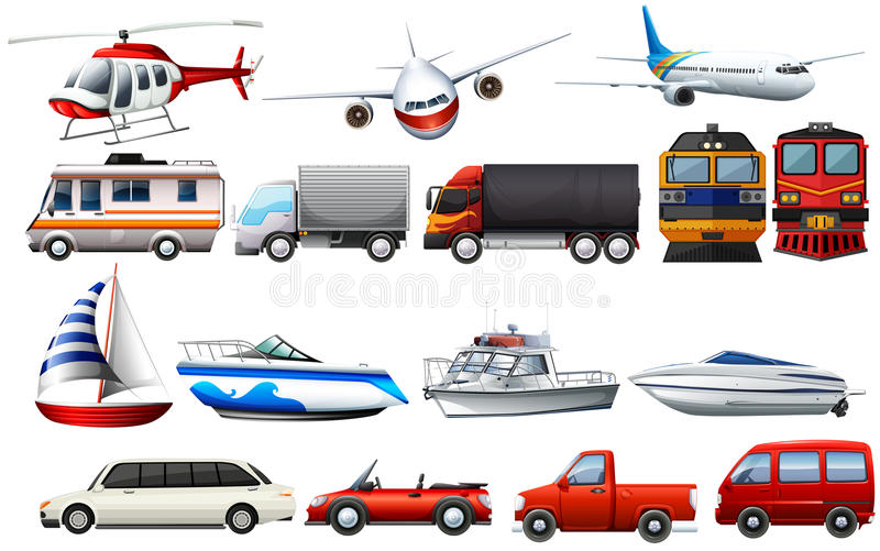 Different types of transportations royalty free illustration
