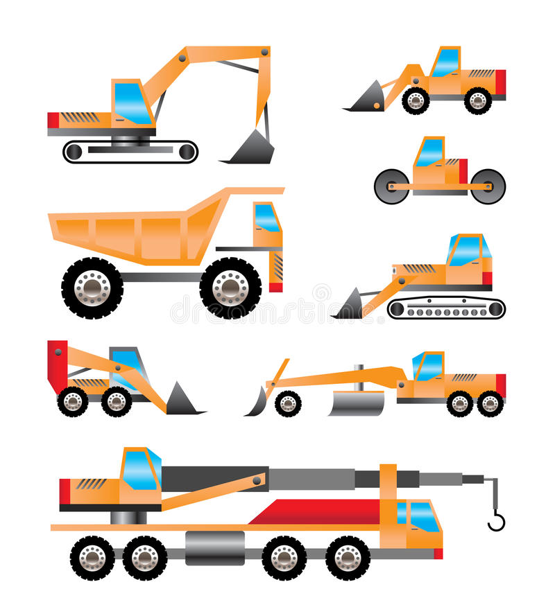 Different types of trucks and excavators icons. Vector icon set stock illustration