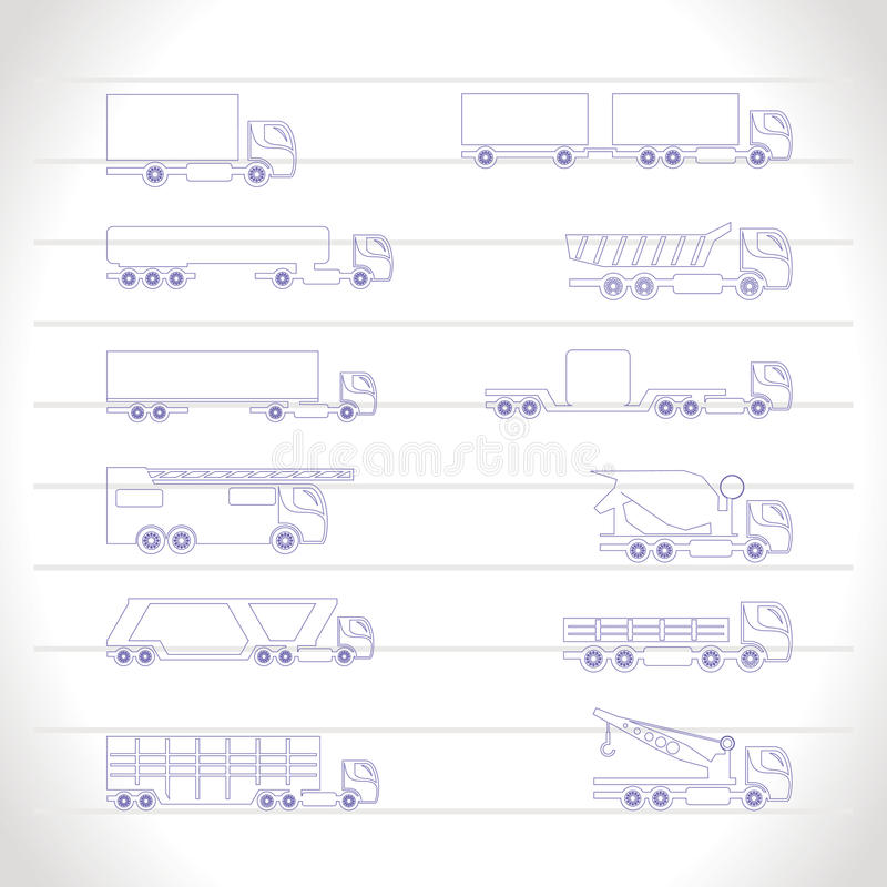 Download Different Types Of Trucks And Lorries Icons Stock Vector - Illustration: 14220497