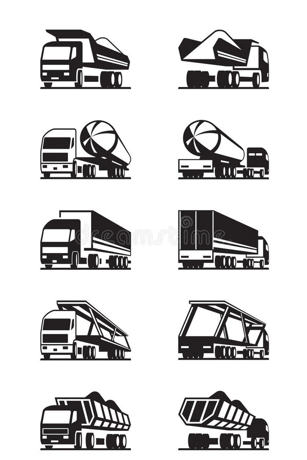 Different types of trucks with trailers vector illustration