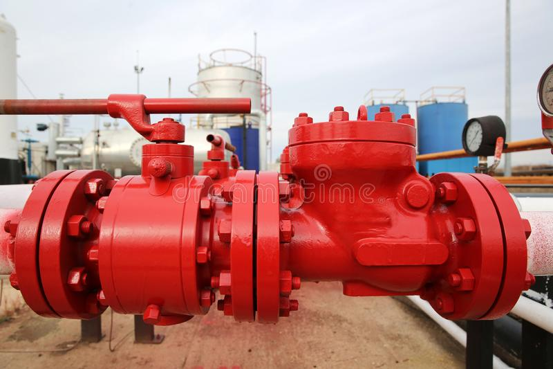 Different Types of Valves and Indicators in the Oil Industry. Equipment stock photo