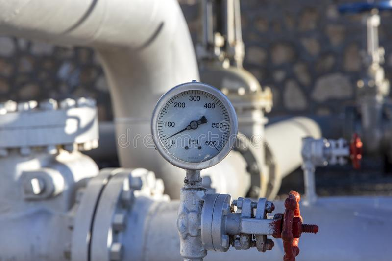 Different Types of Valves and Indicators in the Oil Industry. Equipment royalty free stock image