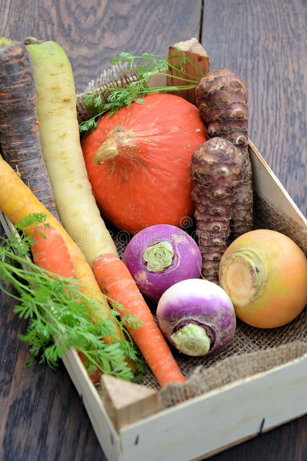 Different types of vegetables. In a box stock photo