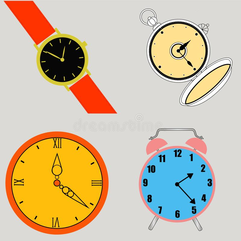 Different types of watches royalty free illustration