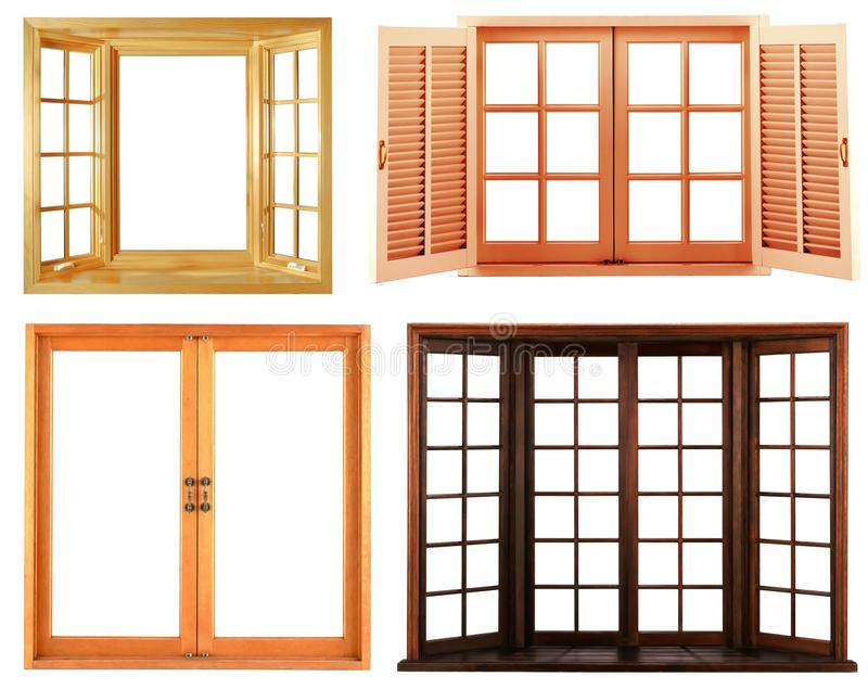 Different types of wooden window frame isolated stock for Types of window panes