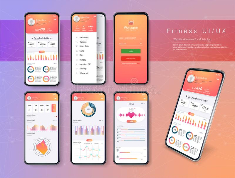 Different UI, UX, GUI screens fitness app and flat web icons for mobile apps, responsive website including. stock illustration