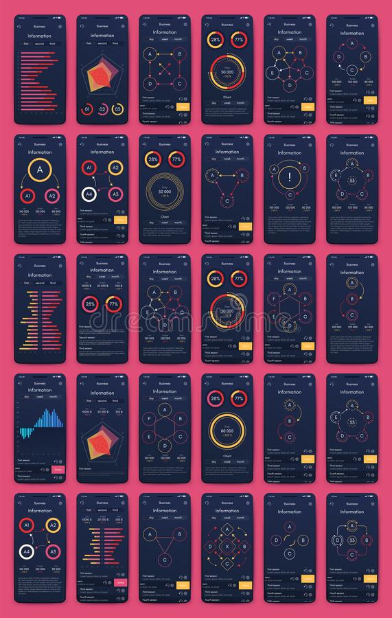 Different UI, UX, GUI screens and flat web icons for mobile apps royalty free illustration
