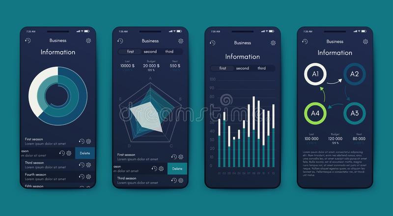Different UI, UX, GUI screens and flat web icons for mobile apps stock illustration
