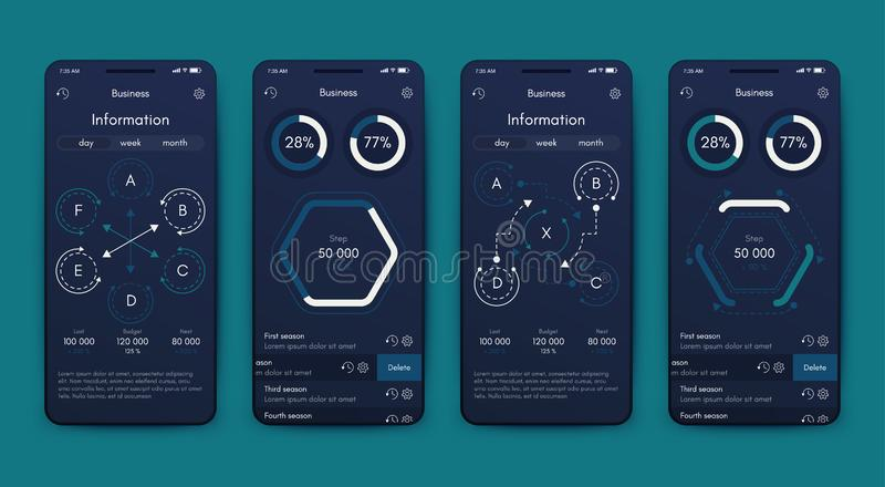 Different UI, UX, GUI screens and flat web icons for mobile apps vector illustration