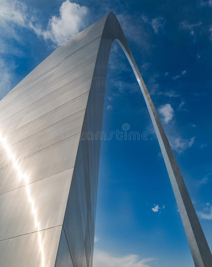 A different unusual perspective of the gate way arch in st louis misouri. A view of the Gateway arch in ST. Louis Misouri. The arch was designed to represent the royalty free stock photography