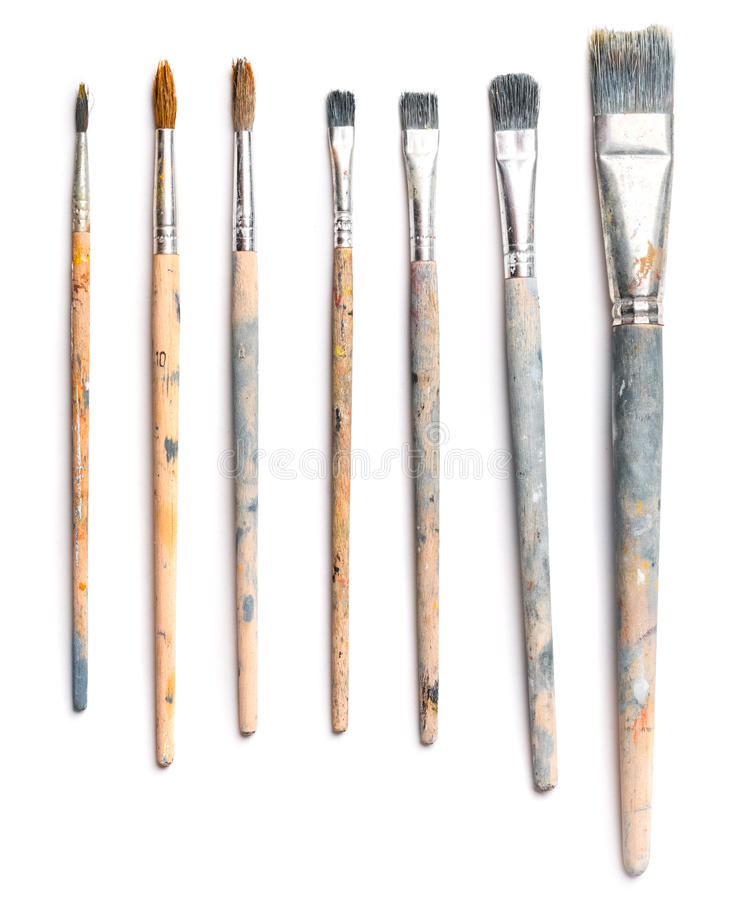 Free Different Used Art Brushes On White Background Stock Photography - 94301072
