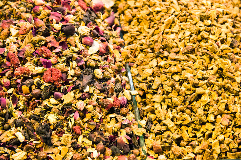 Different varieties and mixes of teas on the Egyptian bazaar in Istanbul, Turkey. royalty free stock photography