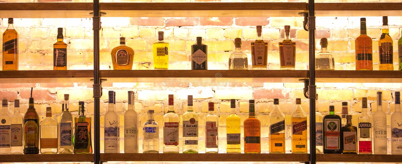 Different variety of alcohol in the bar stock photos