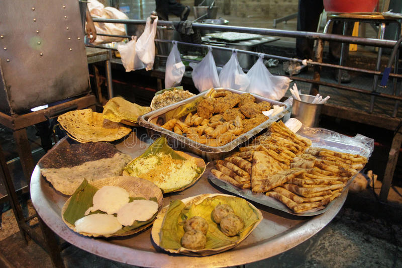 Different variety of street food in Chat Market, India royalty free stock photography