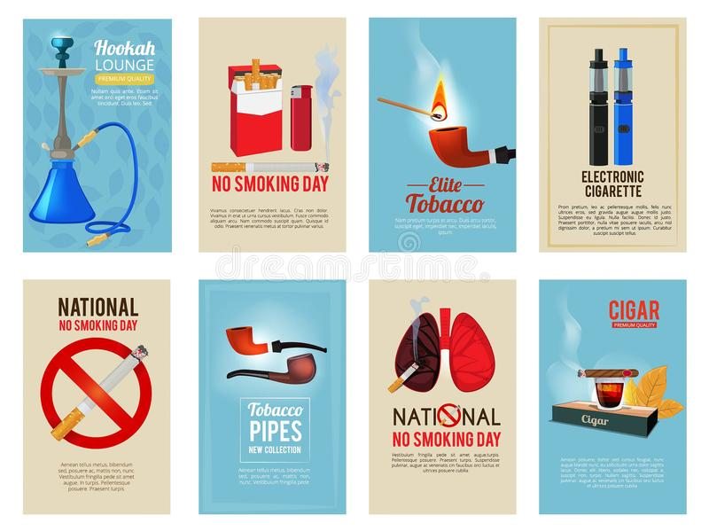 Different vector cards with illustrations of various tools for smokers. Card with cigarette and tobacco, poster banner ban cigar royalty free illustration