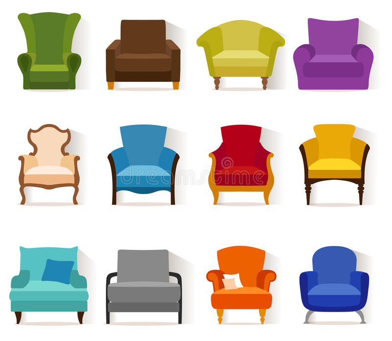 Different vector chairs in flat style. vector illustration