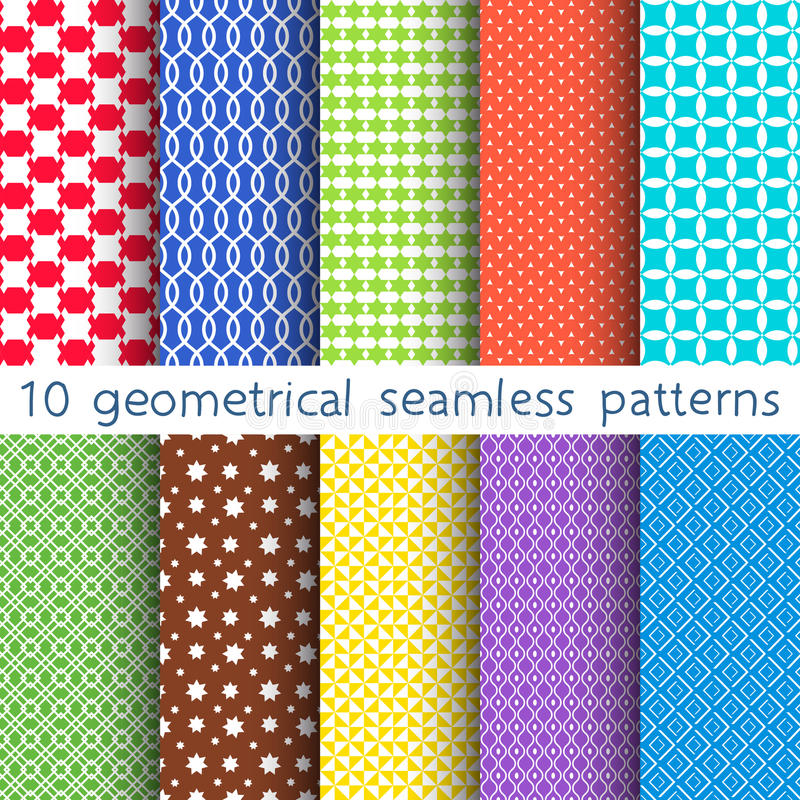 10 different vector seamless patterns. Set of variegated geometric ornaments. royalty free illustration