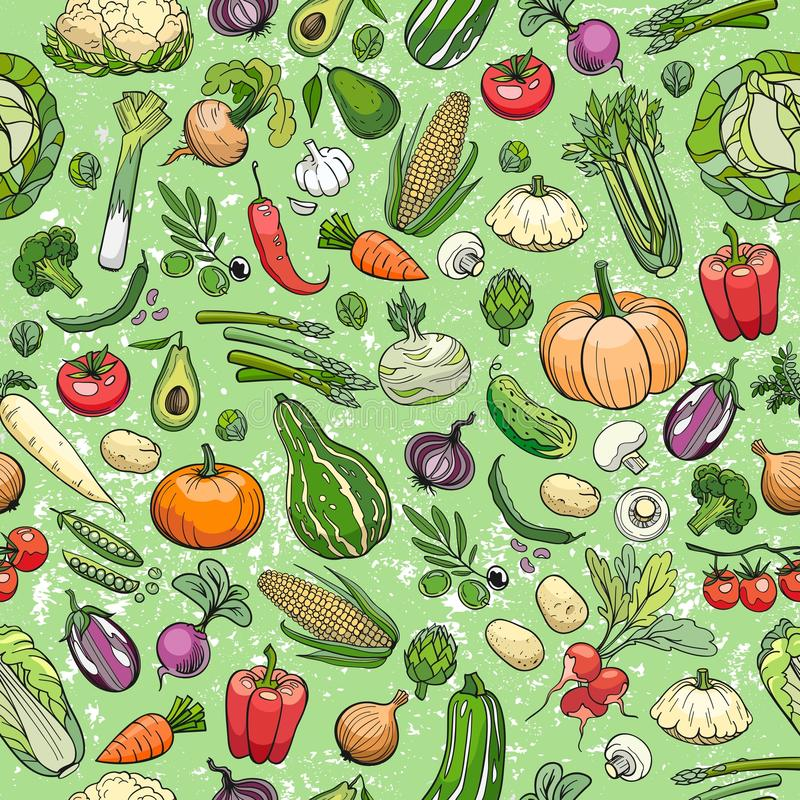 Different vegetables drawings. Seamless background made of different hand drawn vegetables royalty free illustration