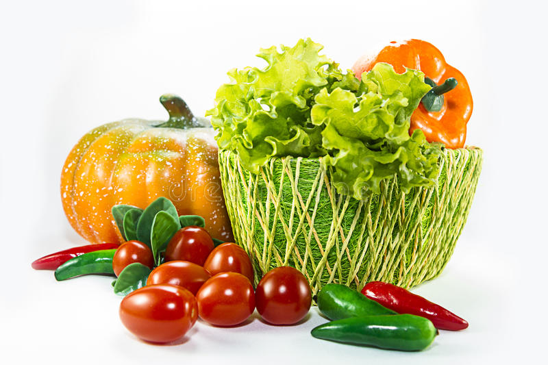 Different vegetables and pumpkin basket royalty free stock photography