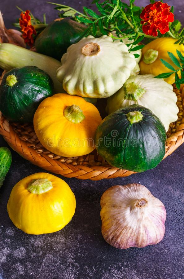 Different vegetables, small patissons, along with other vegetables, cauliflower, broccoli, garlic, cucumbers grown on an eco-farm.  stock photography