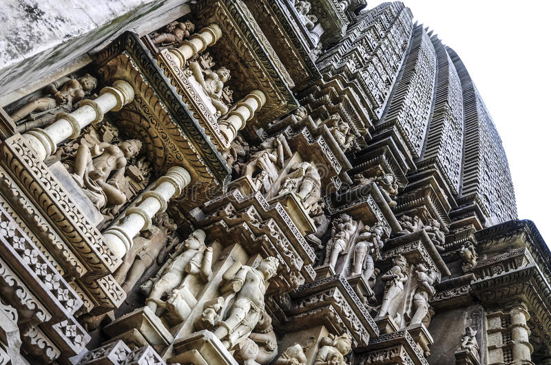 Different view of tempels in Khajuraho in India. royalty free stock photos