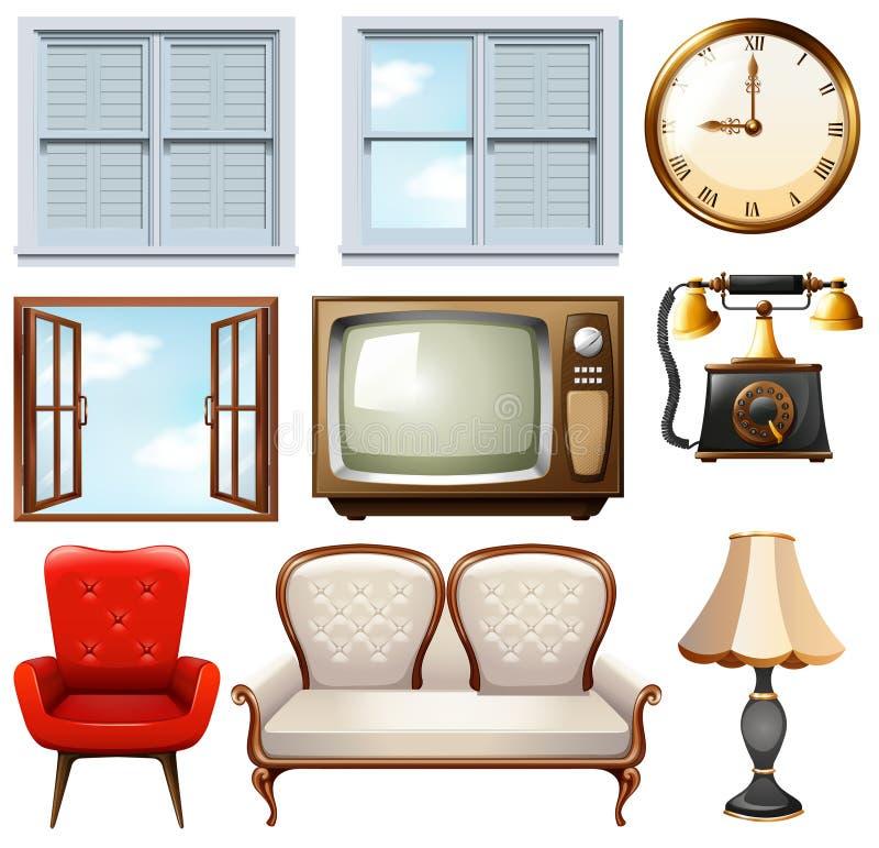 Different vintage furnitures on white. Illustration vector illustration