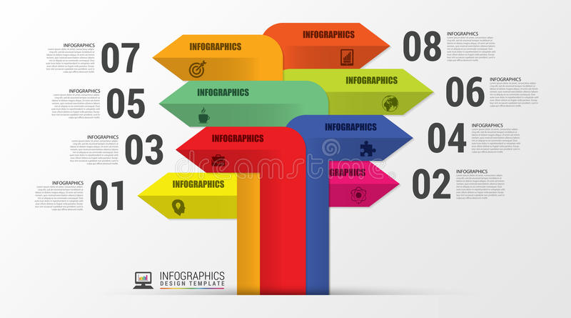 Different Way. Infographics with arrows. Modern template. Vector stock illustration