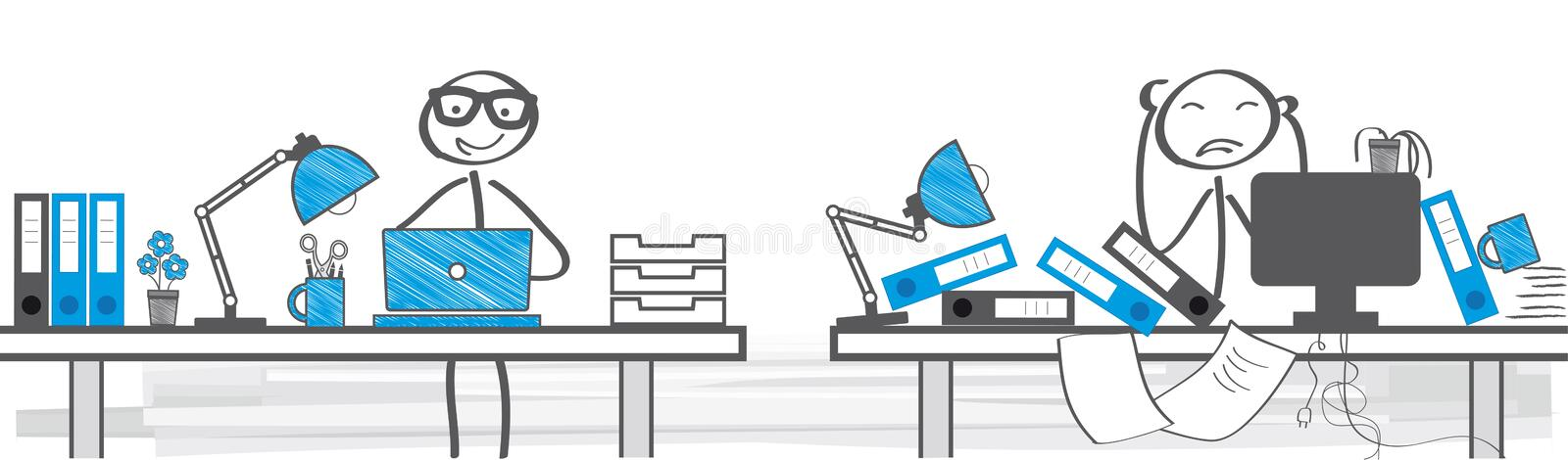 Different ways of working. Two Different Ways To Work - illustration stock illustration