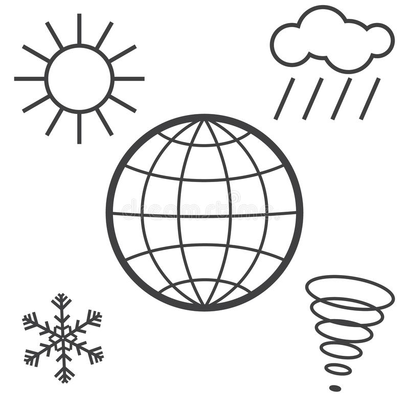 Different weathers on the globe royalty free illustration