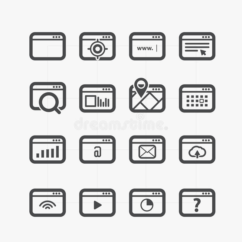 Different web browser icons set stock image