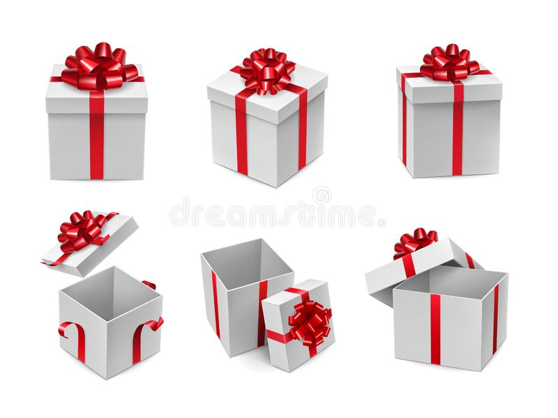 Different white cube shaped boxes vector illustration