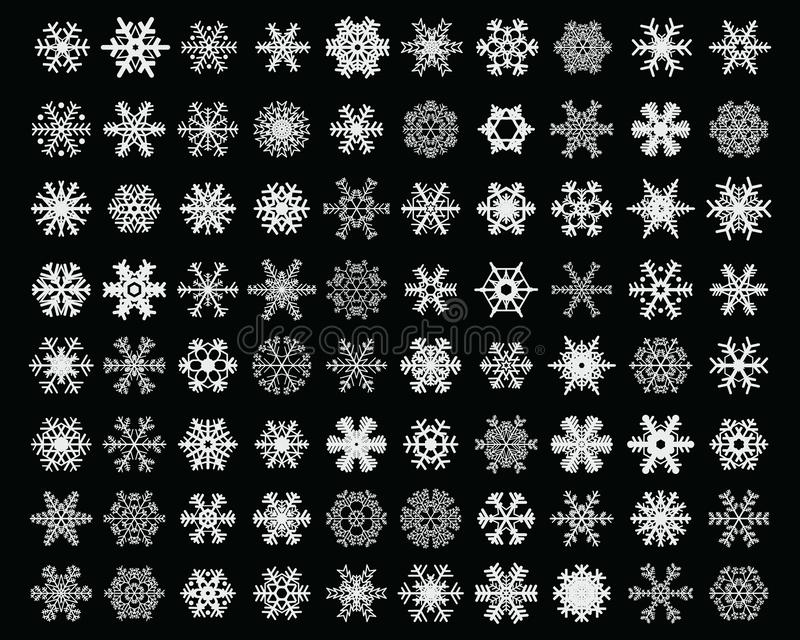 Different white snowflakes royalty free stock images