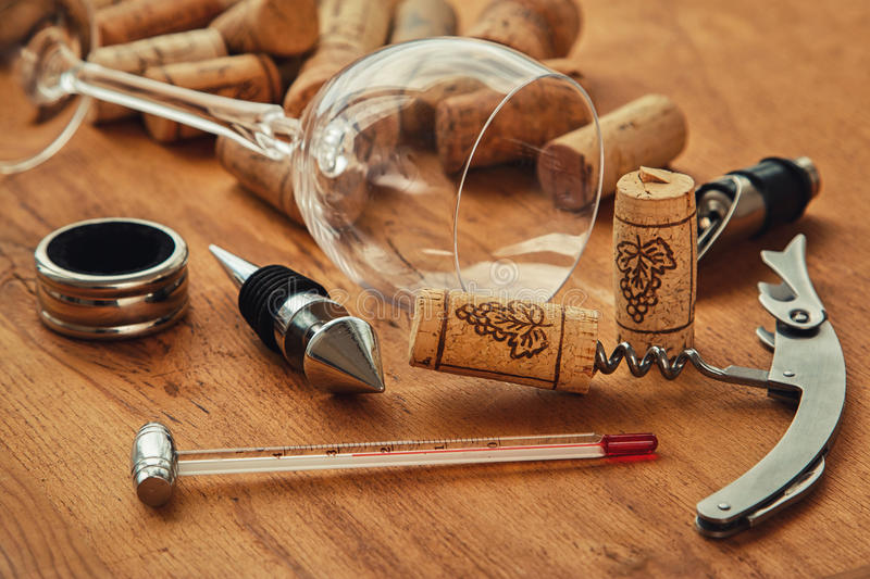 Different wine tools royalty free stock photos
