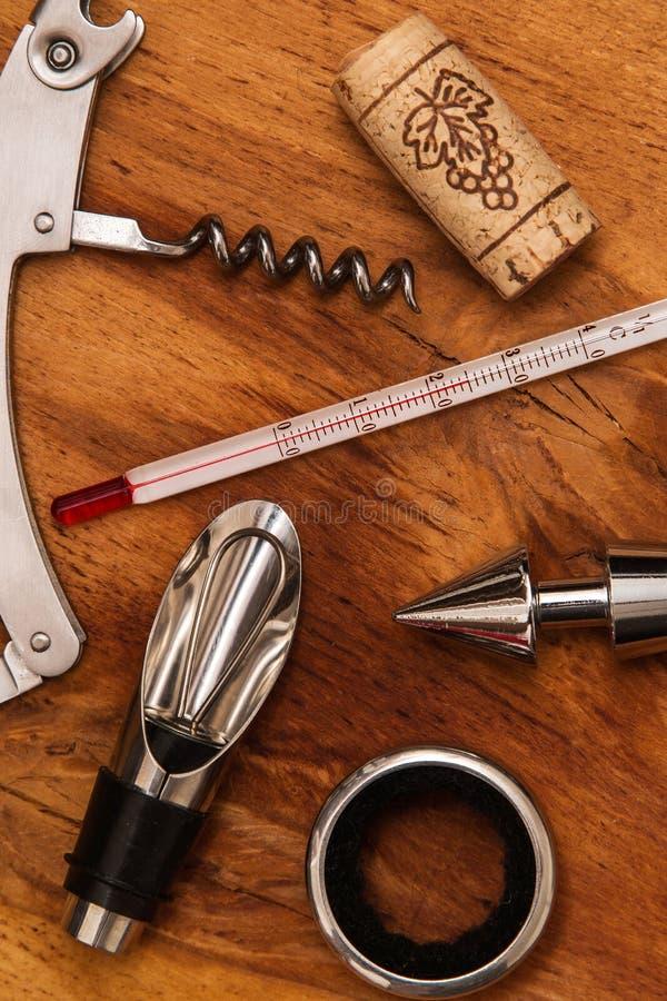 Different wine tools stock image