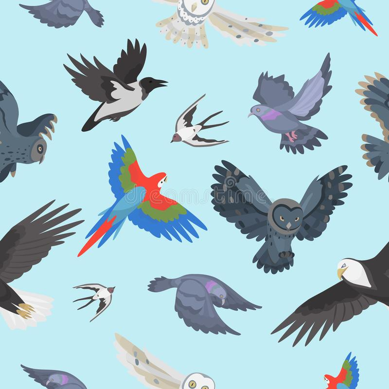 Different wing wild flying birds seamless pattern background vector illustration royalty free illustration