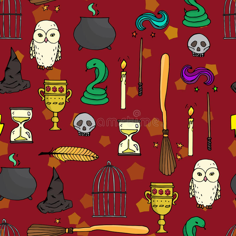 Different witch equipment. Seamless pattern stock illustration